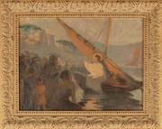 Старинная картина «Проповедь Иисуса Христа на Тивериадском озере»