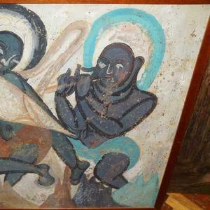Уникальная фреска с танцующим Буддой VII в. Тибет,  нач.1900-х гг