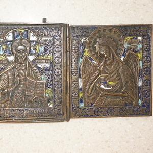 Старинный трехстворчатый складень «Деисус». Россия,  конец XVIII века.