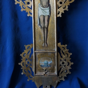 Старинный запрестольный крест с Распятием. Российская Империя,  XIX век