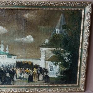 Картина «Крестный ход на Пасху». Российская Империя,  середина XIX век.
