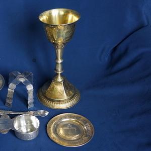 Старинный евхаристический набор из семи предметов. Серебро «84». XIX в
